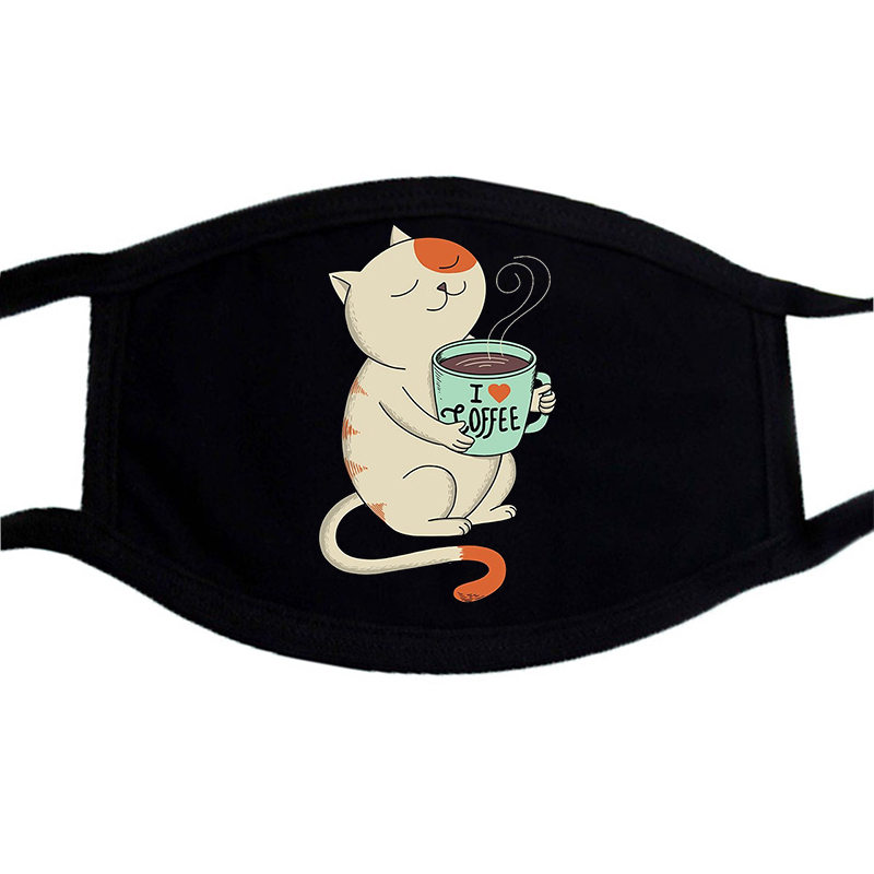 I Love Coffee Lovely Cat Mouth Face Mask Reusable Washable Mask Dust Cartoon Cute Print Mask Respirator Breathing Filter Mask