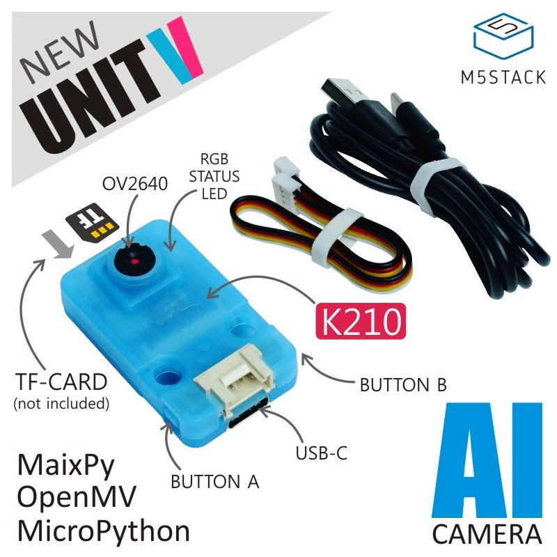 M5Stack Official UnitV AI Camera By Kendryte K210 Dual-Core 64bit RISC-V CPU ConvolutionalNeural Network Processor