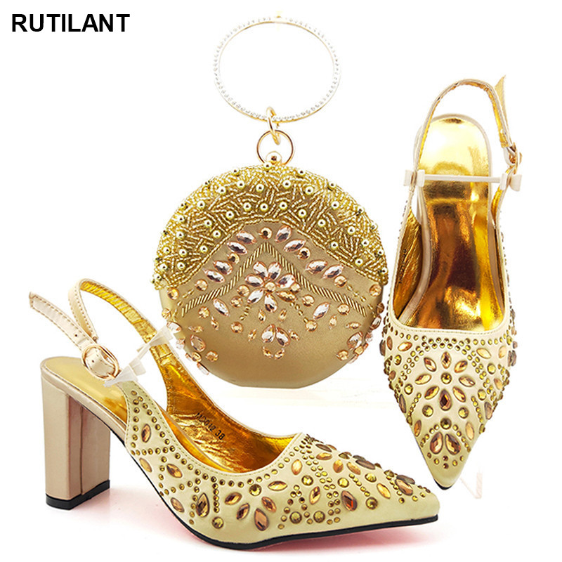 African Wedding Italian Shoe and Bag Sets Ladies Ladies Italian Shoes and Bag Set Decorated with Rhinestone Luxury Women Shoes