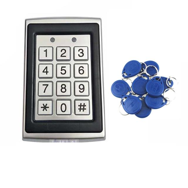 Porta abridor de porta fechadura 125khz controle acesso teclado controlador código pino rfid cartão com à prova dwaterproof água, teclado retroiluminado, caixa de metal