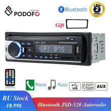 Podofo autoradio JSD-520 12 v in-dash 1 din bluetooth rádios de carro sd mp3 player receptor fm estéreo de áudio automático entrada aux(China)