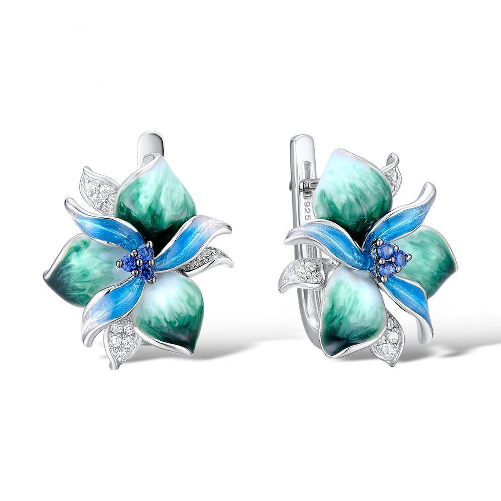 Women Trendy Jewelry Green Enamel Flower Silver Clip Earrings With AAA Zircon Stone Delicate Bohemia Wedding Engagement Earrings