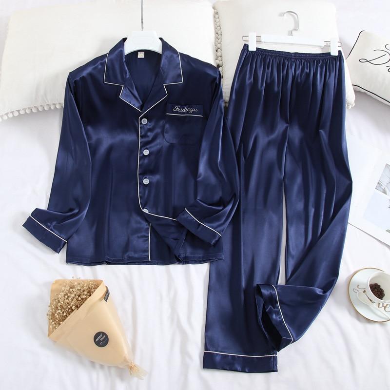 Spring And Autumn Men's Pyjamas Long Sleeve Trousers Suit Ice Silk Lapel Pyjamas Thin Casual Comfortable Oversize Home Wear