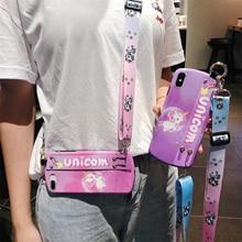 unicorn strap tpu case for iphone 8 7 6 6s plus X XR XS MAX cover cute cartoon wristband holder soft silicone phone bag cap