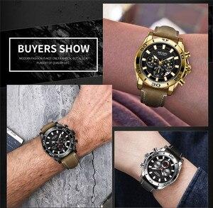 Image 3 - MEGIR הכרונוגרף Mens שעונים למעלה מותג יוקרה רצועת עור קוורץ גברים זכר שעון צבאי צבא ספורט תאריך שעון אריזת מתנה 2094
