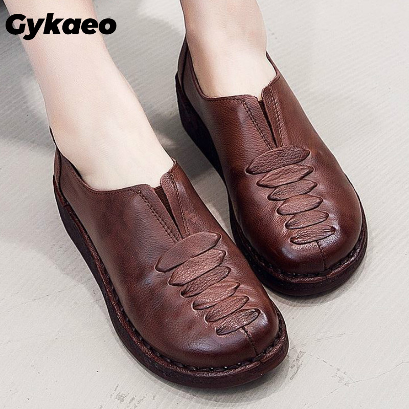 Gykaeo 2020 Spring Ladies Genuine Leather Handmade Shoes Women Retro Flat Shoes Woman Autumn Soft Loafers Flats Zapatos De Mujer