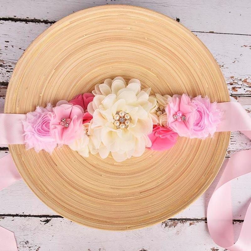Fashion Flower Maternity Sash Pregnancy Belly Belt Wedding Bridal Waistband Baby Shower Accessory Postpartum Belt 4 Options