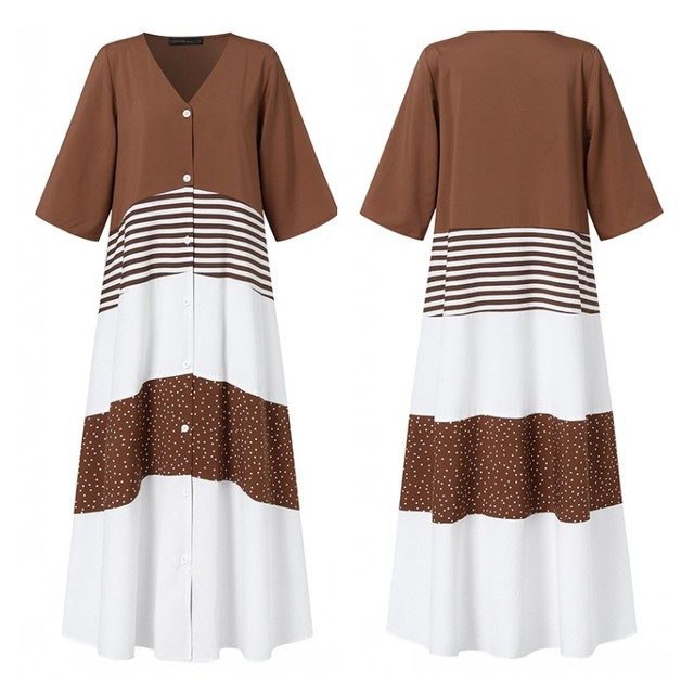 casual and fun, long stripes, button top dress 4