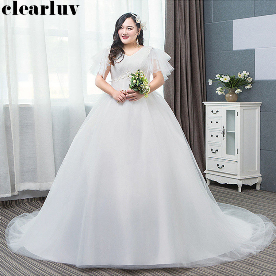 Wedding Dress V-neck Plus Size Bride Dress Simple Vestido De Novia T358 Free Shipping 2019 White Elegant Long Train Wedding Gown