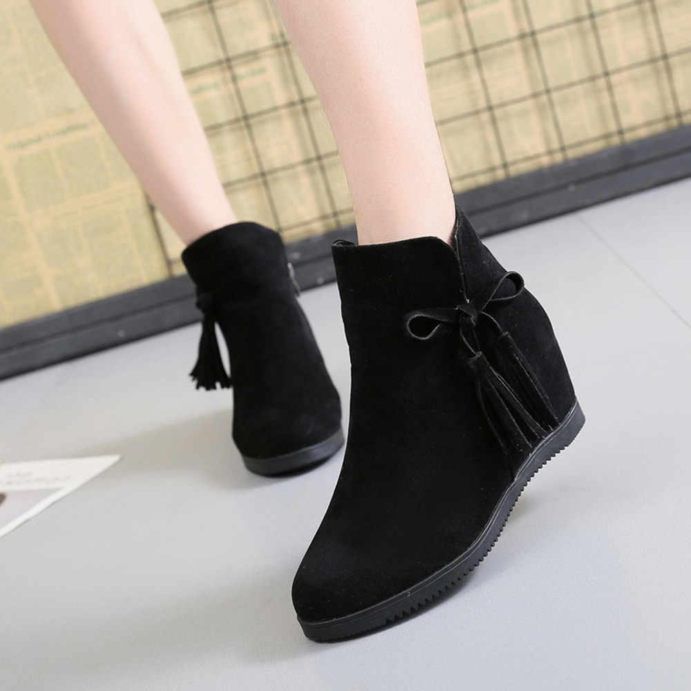 JAYCOSIN Schoenen Vrouw Suede Enkellaarzen Voor Vrouwen 2019 Mode Effen Kleur Rits Kwastje Laarzen Vrouwen Zapatos De Mujer 1103