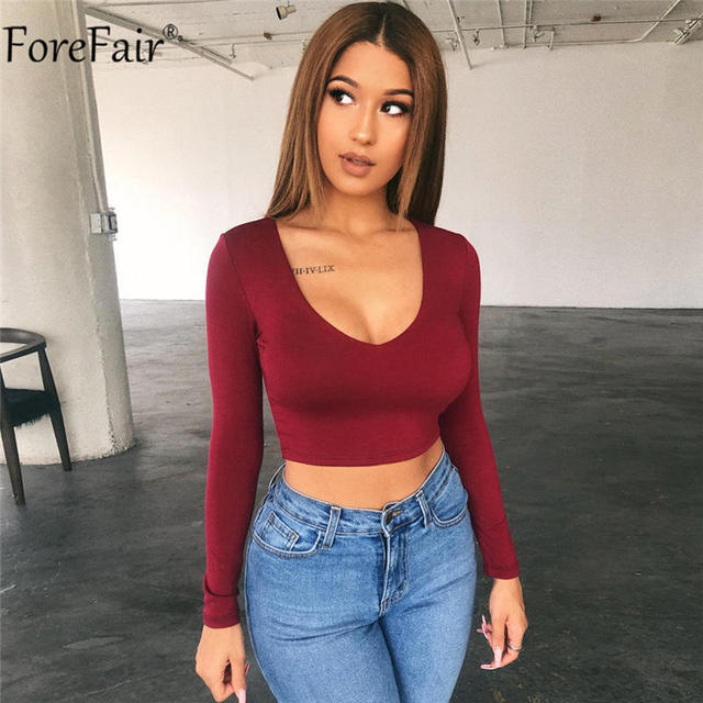 Forefair V Neck Women White Crop Top Black Red Long Sleeve Solid Streetwear Sexy Kint Autumn Winter Casual Party T Shirt 8