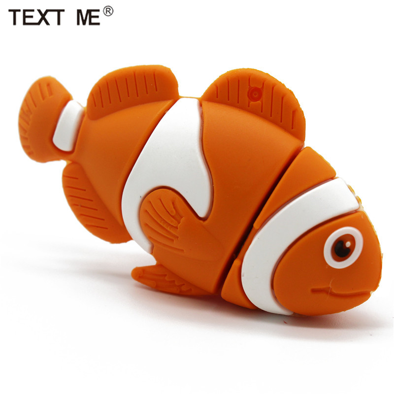 TEXT ME Cute Orange Mini Fish Model Usb2.0 4GB 8GB 16GB 32GB 64GB Pen Drive USB Flash Drive Creative Gifty Stick Pendrive
