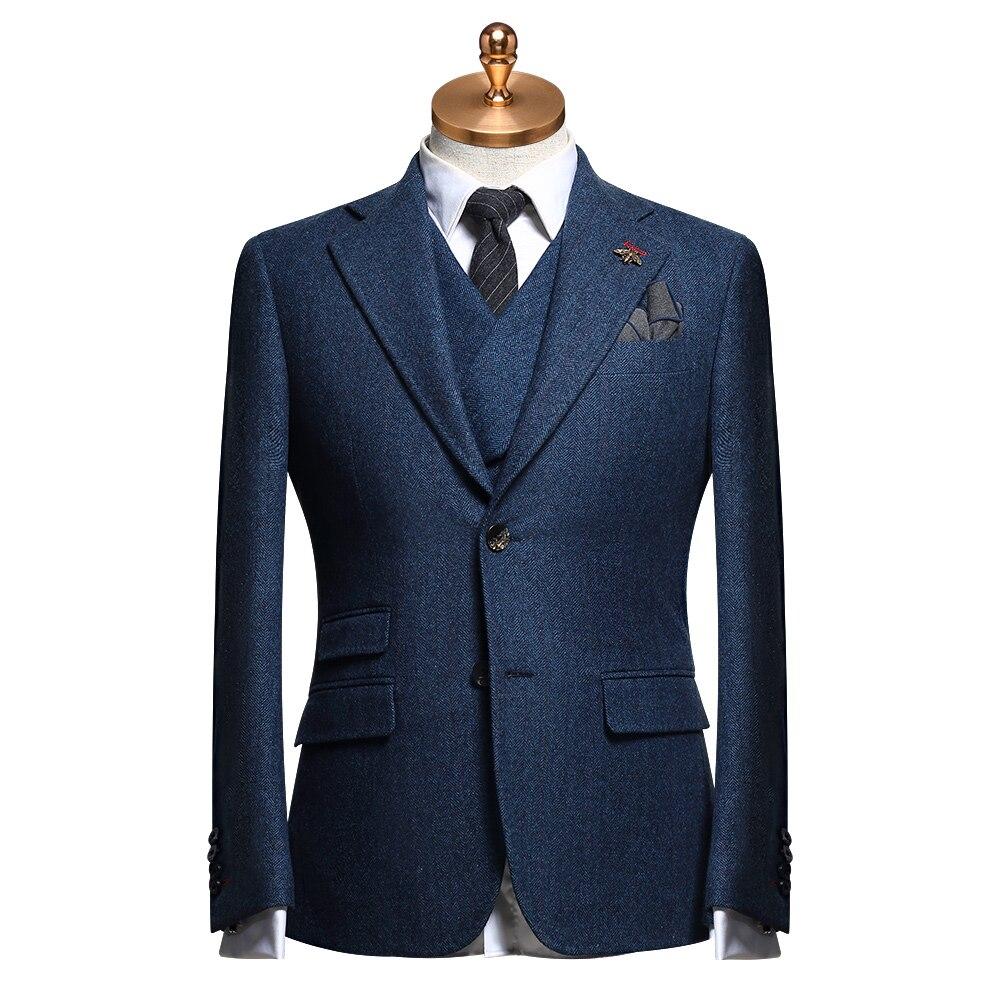 50% Wool Mens Suits 2piece 3 Piece Set Blue Brown Plaid Slim Fit Wedding Groom Suit Thickness Business Man Blazer Vest Pant Plus