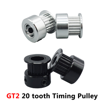 JKHJ 3D Printer Parts GT2 Pulley 20 tooth Bore 5mm 8mm 2gt teeth Timing Gear Alumium 6mm synchronous belt pulley 2PCS gt2 timing belt pulley 6mm bandwidth gt2 16 tooth 20 teeth bore 5mm 6mm 6 35mm 8mm inner hole diameter pulley 3d printer parts