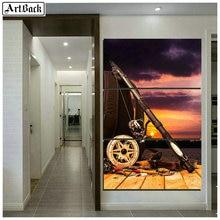 Diamond painting fishing scenery sunset diamond mosaic embroidery triple living room decoration