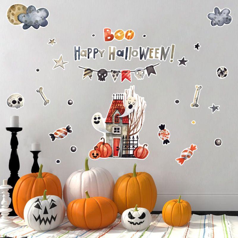 Chambres d'enfants dessin animé coloré mignon Stickers muraux auto adhésif PVC décalcomanies pour Halloween fête décorations pour la maison pour maternelle. v