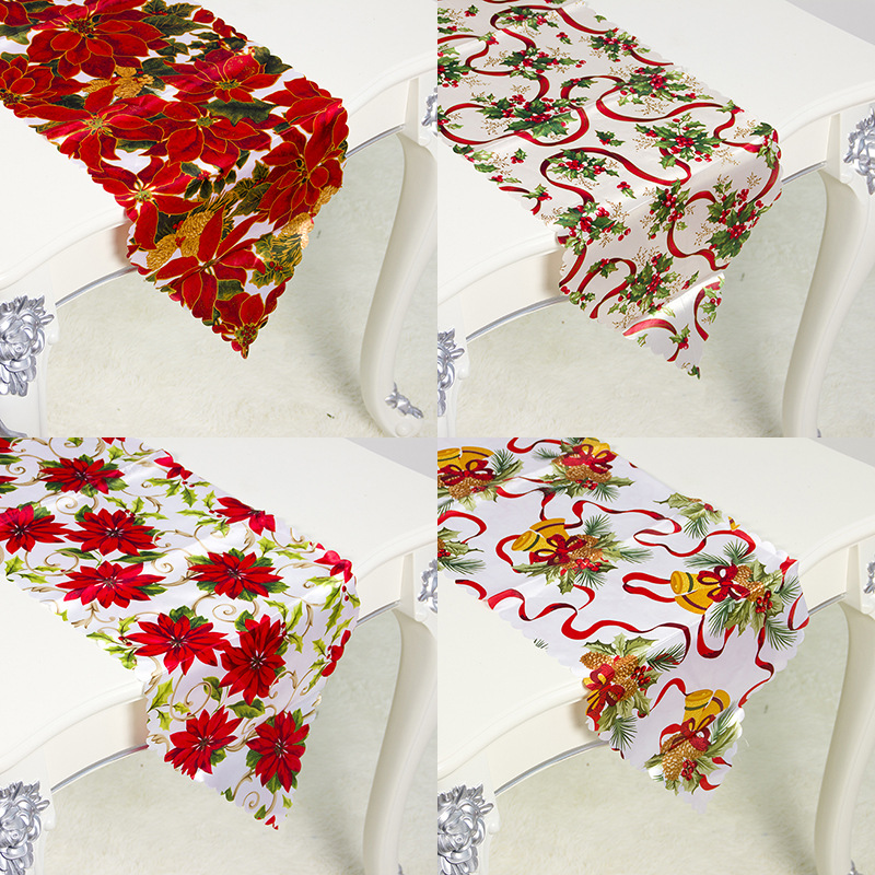 New Year 2020 Navidad Christmas Table Runner Polyester Table Flag Tablecloths Christmas Party Decoration Xmas Ornaments