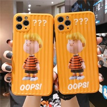 Cute Cartoon little boy Charlie Brown soft phone cover for iphone 11 11Pro max Case for iphone Xr Xs Max X 7 8 Plus case capa