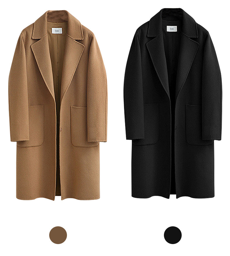 Black Coat Outwear Cloth Oversize Wool-Blend Polyester Long Winter Women Pocket for Wide-Lapel title=