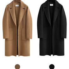 2019 Winter Black Coat For Women Wide Lapel Pocket Woollen C