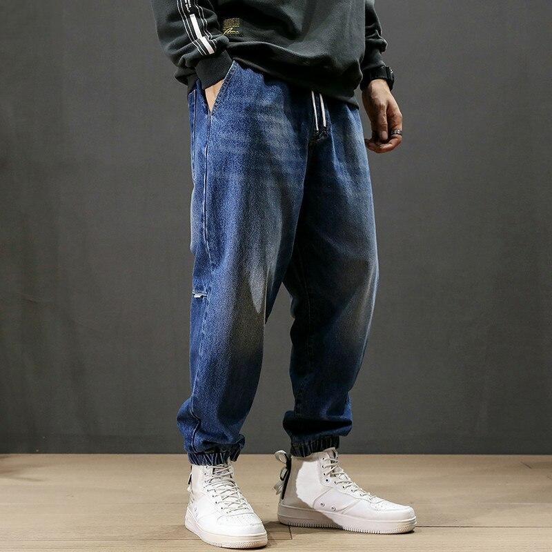 Fashion Streetwear Men Jeans Loose Fit Retro Blue Harem Pants Men Slack Bottom Vintage Designer Hip Hop Joggers Jeans Homme