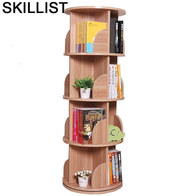 Decor Storage Vitrina Shabby Mueble De Madera Rotate Rotatable Home Furniture Libreria Scaffale Bookcase Book Case Rack
