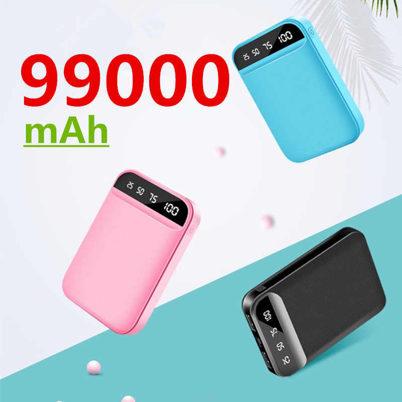 99000Mah Mini Portable Power Bank Usb Charger Poverbank Oplader Externe Batterij Pack Voor Samsung Xiaomi Iphone Powerbank