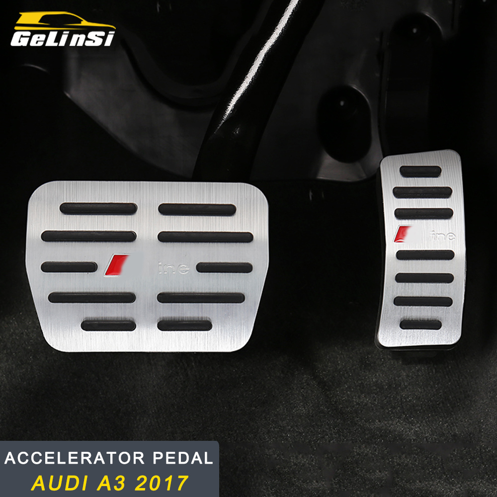 GELINSI for <font><b>Audi</b></font> <font><b>A3</b></font> 2017-2019 Car Styling Accelerator Foot Rest Brake <font><b>Pedal</b></font> Cover Trim Frame Chrome Interior Accessories image