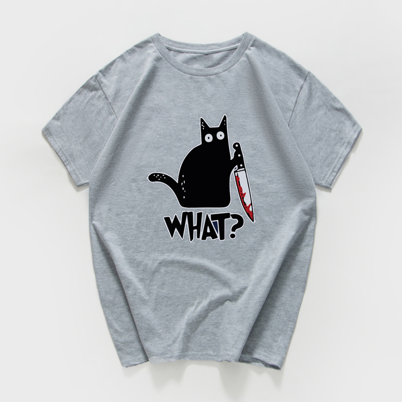 Cat With A Knife Print Tshirt Women Casual Funny T Shirt Women Streetwear Female Loose Novelty Women T-shirt Cool Tops Tee Shirt