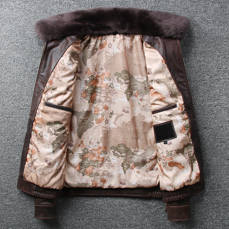 H3ba2f56e359c45f5b79e8b5f0db7be62P 2019 Vintage Men's G1 Air Force Pilot Jackets Genuine Leather Cowhide Jacket Plus Size 5XL Fur Collar Winter Coat for Male
