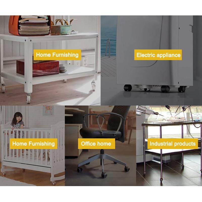 2/4/8 peças rodízios móveis rodas direcional rodas carrinhos de rodas cadeiras de escritório cama do bebê acessórios de ferragens de móveis-2