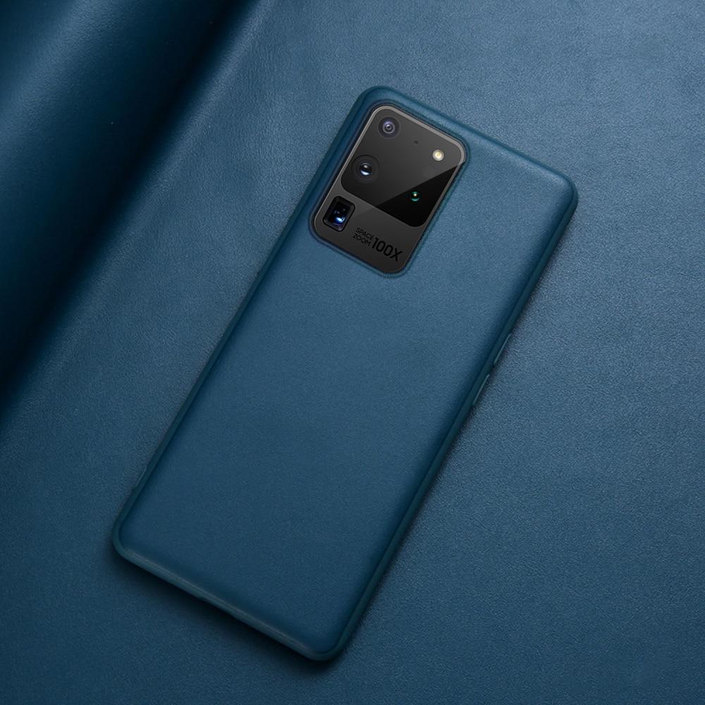 Original Genuine Leather Back Cover Silicone Case For Samsung Galaxy S20 Ultra S10 S9 S8 Note 8 9 10 Plus S10e Phone Case