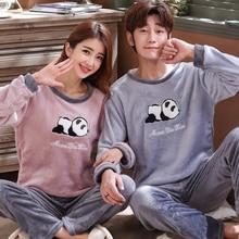 Lovers Cartoon Pyjamas Women And Men Nightwear Winter Flannel Fleece Pijamas Women Warm Paj