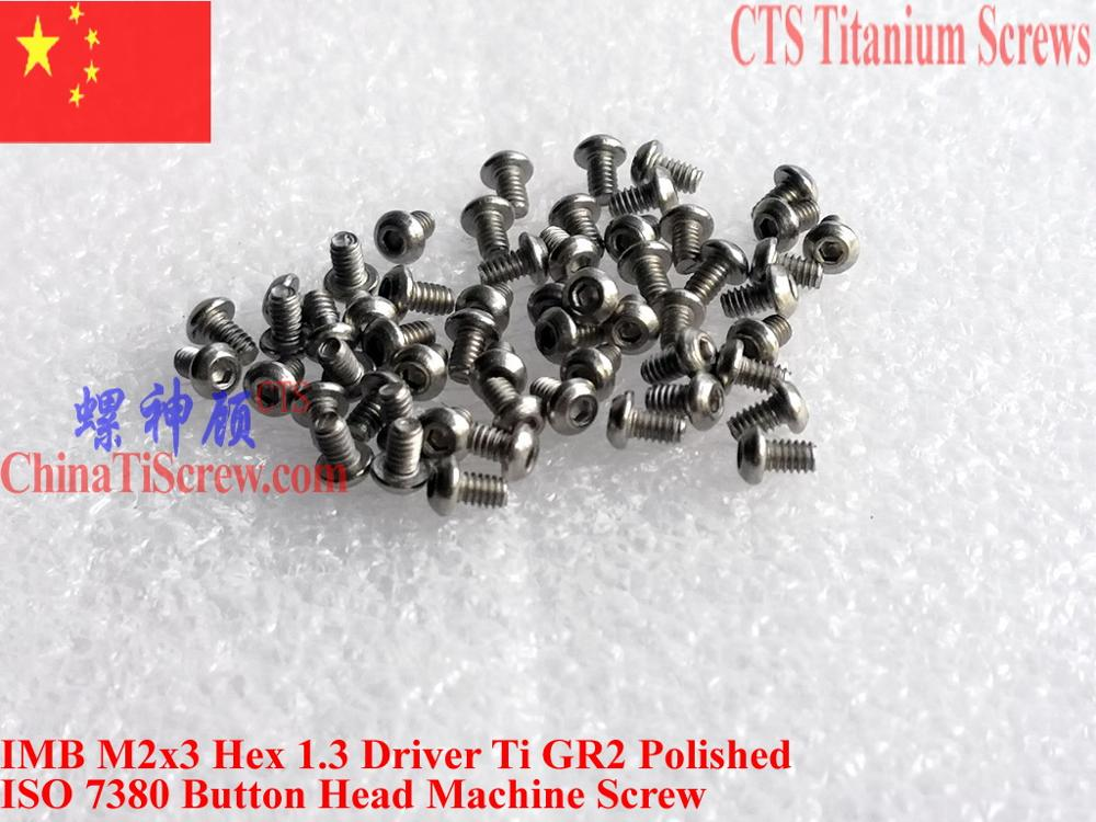 ISO 7380 Titanium <font><b>screw</b></font> M2x3 M2x4 M2x5 M2x6 M2x7 M2x8 Button Head Hex 1.3 Driver Ti GR2 Polished 50 pcs image