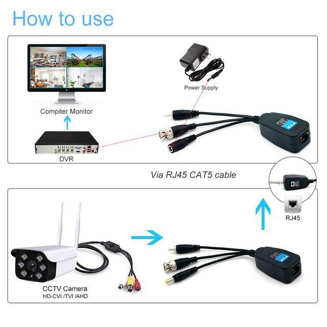 8MP HD BNC wydajność wideo Balun Audio do złącza RJ45 HD-CVI/TVI/AHD Transceiver do kamera do monitoringu bezpieczeństwa cctv