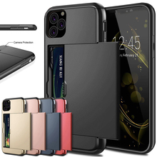 Case For iPhone 11 Case Slide Armor Wallet Card Slots Cover On For iPhone Xs Max XS XR 7 X 8 6 6s Plus 2019 Case Cover Coque цена и фото