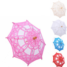 Parasol Sun-Umbrella Flower-Girl for Kids Children Lace White Pink Red Blue Little Boda