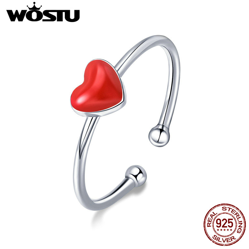WOSTU Trendy Design 925 Sterling Silver Cute Red Heart Open Rings For Women Fine Jewelry Adjustable Ring Christmas Gifts CSR156