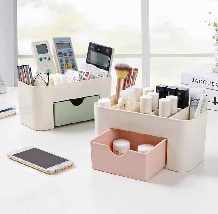 Makeup Organizer Make Up Brush Jewelry Storage Box With Drawer Cotton Swabs Stick Office Home Storage Case Box Pink Blue Green