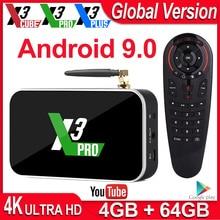 Smart TV BOX X3 Pro, Android 9,0, S905X3, dispositivo de TV inteligente, X3 Plus, 4K, decodificador de Android, 4GB, DDR4, 64GB de ROM, wi fi 2,4 GHz/5 GHz, 1000M