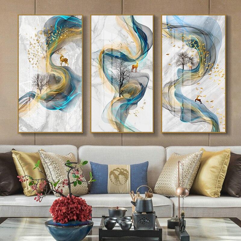 Нордическая Геометрическая настенная живопись на холсте, абстрактные Золотые олени, плакаты с птицами и принтами, настенные картины для гостиной, домашний декор