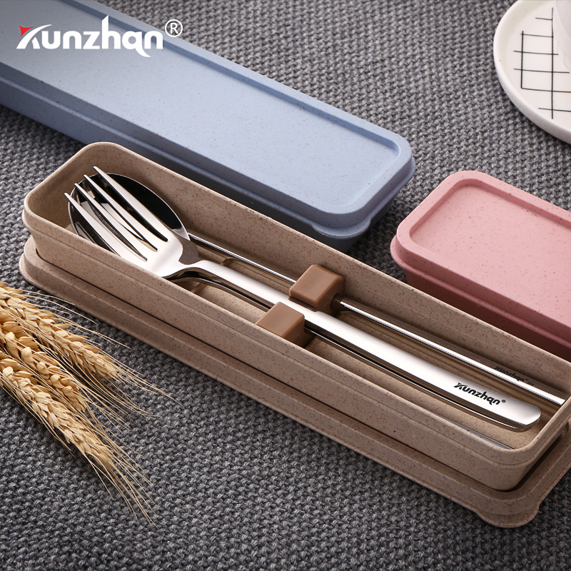 Portable Cutlery Set 304 Stainless Steel Spoon Fork Chopsticks Dinner Set No Shaking and Noise Travel Tableware