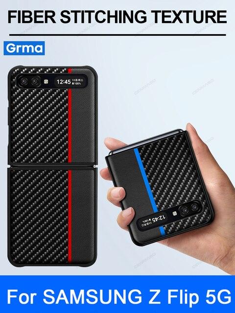 GRMAหรูหราของแท้หนังคาร์บอนไฟเบอร์สำหรับSamsung Galaxy Z FlipกรณีSM F7000 Galaxy Z Flip Aramidฝาครอบโทรศัพท์