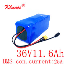 KLUOSI 36V 11.6Ah 12Ah 10S4P 36V Battery 42V Lithium Battery Pack for 750W Ebike Electric Car Bicycle Motor Scoote with 25A BMS