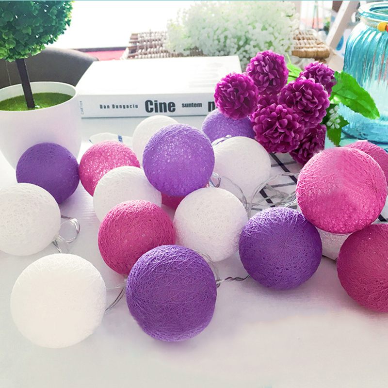 QYJSD 6M Garland LED Ball Cotton String For Halloween Christmas Tree Wedding Birthday Party Bedroom Fairy Outdoor Garland Lights