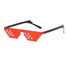 Óculos 8 bit pixelated óculos de sol feminino marca thug vida festa óculos das senhoras do vintage feminino oculos