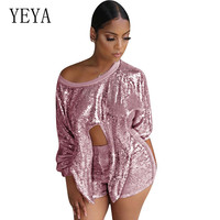 YEYA Elegant Short Rompers Women 2 Pieces Sets Sequin Playsuits Sexy Hollw Out Tie Up Bodycon Bandage Glitter Overalls Jumpsuits