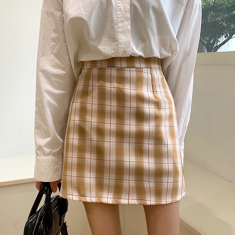 All Match Summer plaid mini <font><b>skirts</b></font> womens Preppy Style vintage high waist <font><b>sexy</b></font> A-Line <font><b>skirts</b></font> <font><b>plus</b></font> <font><b>size</b></font> <font><b>skirts</b></font> faldas mujer image