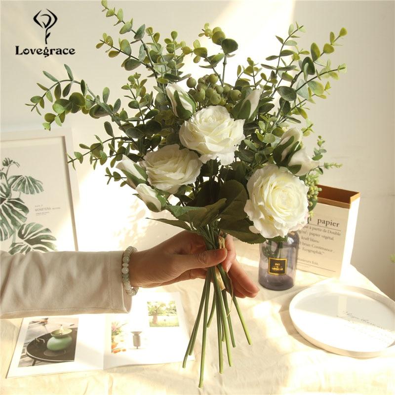 Lovegrace Bouquet Bride Wedding Flower Bridesmaid Rose Eucalyptus Leaves Bouquet Artificial Silk Flower Table Center Accessories