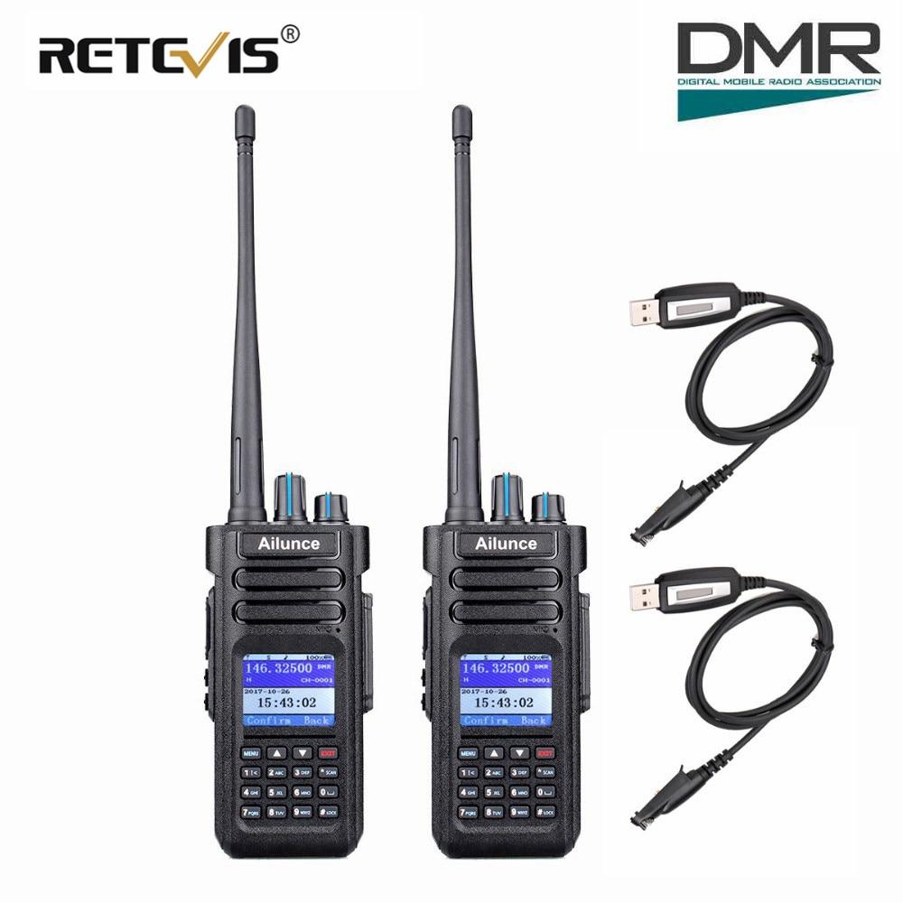 band digital Retevis Ailunce HD1 Walkie Talkie Dual Band DMR Digital DCDM TDMA VHF UHF 2pcs Ham Radio Hf Transceiver + Program Cable (1)